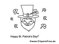 Leprechaun clipart gratuit – Saint-Patrick à colorier
