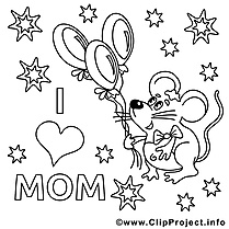 Ballons dessins gratuits – Fête des mères à colorier