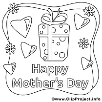 Cadeau clip art gratuit – Fête des mères à colorier