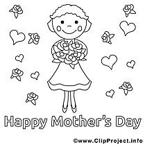 Carte dessin à télécharger – Fête des mères à colorier
