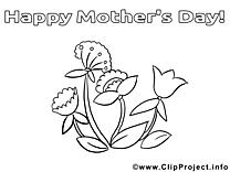 Clip art gratuit fleurs – Fête des mères à imprimer