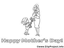 Coloriage fille fête des mères illustration à télécharger