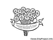 Coloriage fleurs fête des mères illustration à télécharger