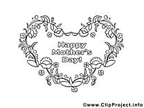 Dessin coeur – Coloriage fête des mères à télécharger