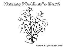 Dessin fleurs – Fête des mères gratuits à imprimer