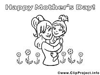Fille image à télécharger – Fête des mères à colorier