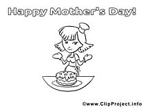 Gâteau dessin – Coloriage fête des mères à télécharger
