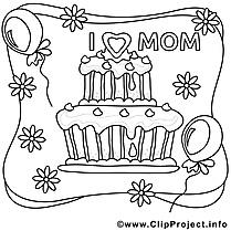 Gâteau image à télécharger – Fête des mères à colorier
