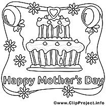 Gâteau images gratuites – Fête des mères à colorier