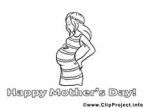 Grossesse dessins gratuits – Fête des mères à colorier
