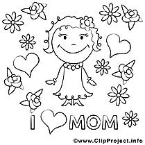 J'aime ma maman dessin – Coloriage fête des mères à télécharger