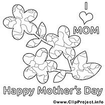 J'aime ma maman image – Fête des mères à colorier