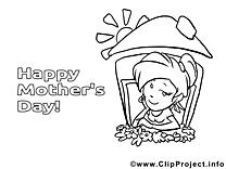 Maison clipart – Fête des mères dessins à colorier
