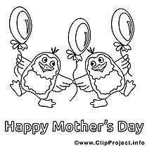 Pingouins clipart – Fête des mères dessins à colorier
