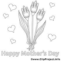 Tulipes dessin à télécharger – Fête des mères à colorier