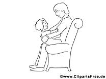 Famille clip art gratuit – Fête des pères à colorier