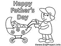 Poussette image – Coloriage fête des pères illustration