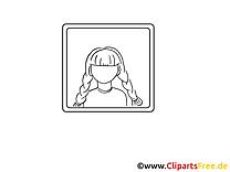 Cadre cliparts gratuis – Fille à imprimer
