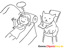 Chat clip art gratuit – Fille à colorier