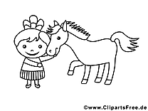 Cheval illustration – Fille à imprimer