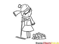 Coloriage râteau fille illustration à télécharger