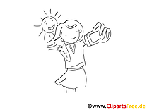 Coloriage selfi fille illustration à télécharger