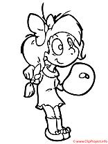 Drôle clip art gratuit – Fille à colorier