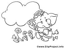 Éléphant image à télécharger – Fleurs à colorier