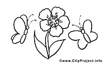 Papillons dessins gratuits – Fleur à colorier