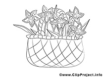 Panier cliparts gratuis – Fleurs à imprimer