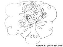 Vase dessin gratuit – Fleurs à colorier
