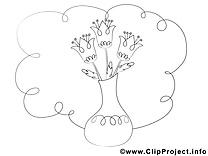 Vase image à télécharger – Fleurs à colorier