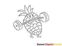 Ananas dessins gratuits – Fruits à colorier
