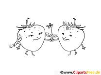 Fraises clip art – Fruits image à colorier