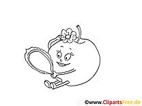 Miroir pomme images gratuites – Fruits à colorier