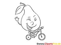 Poire clipart – Fruits dessins à colorier