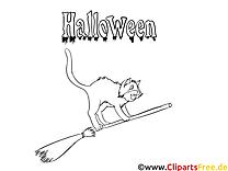 Balai dessin gratuit – Halloween à colorier