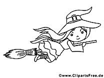 Balai images gratuites – Halloween à colorier