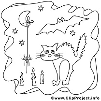 Chat clip art – Halloween image à colorier