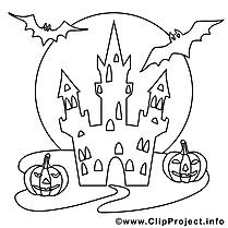 Château dessin gratuit – Halloween à colorier