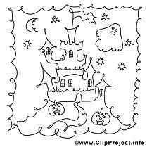 Château dessins gratuits – Halloween à colorier