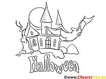 Château image gratuite – Halloween à colorier