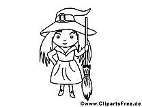 Clip art gratuit petite sorcière – Halloween à imprimer