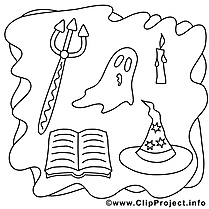 Décoration image – Coloriage halloween illustration