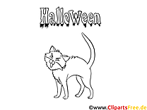Dessin chat – Coloriage halloween à télécharger