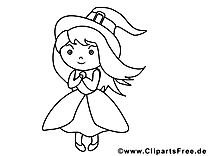 Dessins gratuits petite sorcière – Halloween à colorier