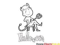 Diable clipart gratuit – Halloween à colorier