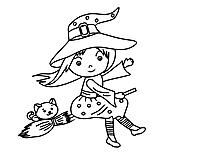 Illustration sorcière – Halloween à imprimer