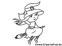 Sorcière clipart gratuit – Halloween à colorier