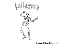 Squelette clipart – Halloween dessins à colorier